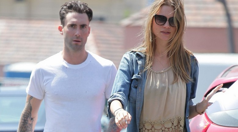 EXCLUSIVE: Adam Levine and supermodel fiance Behati Prinsloo look very happy after as they leave the Blu Jam cafe in Sherman Oaks, CA