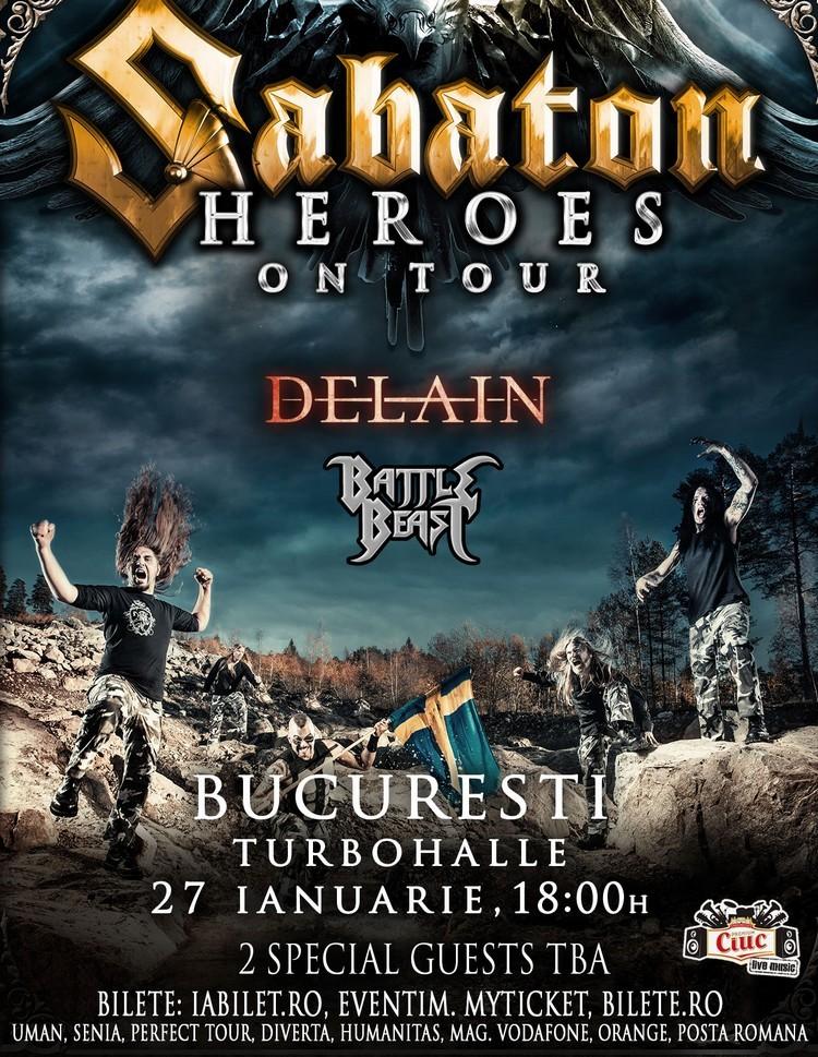 sabaton-afis-delain-battle-beast concert bucuresti